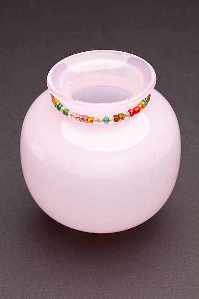 Small, Pink, Glass Vase stock photo