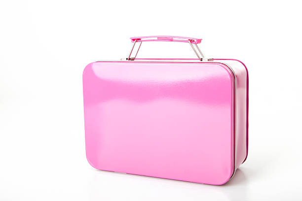 small pink suitcase for young girl (xxl) - lunchlåda bildbanksfoton och bilder