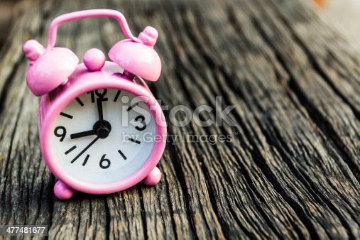 671883446 istock photo Small pink watch on wood. 477481677