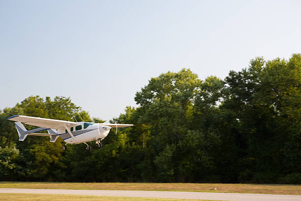 Small plane off the runway stock photo