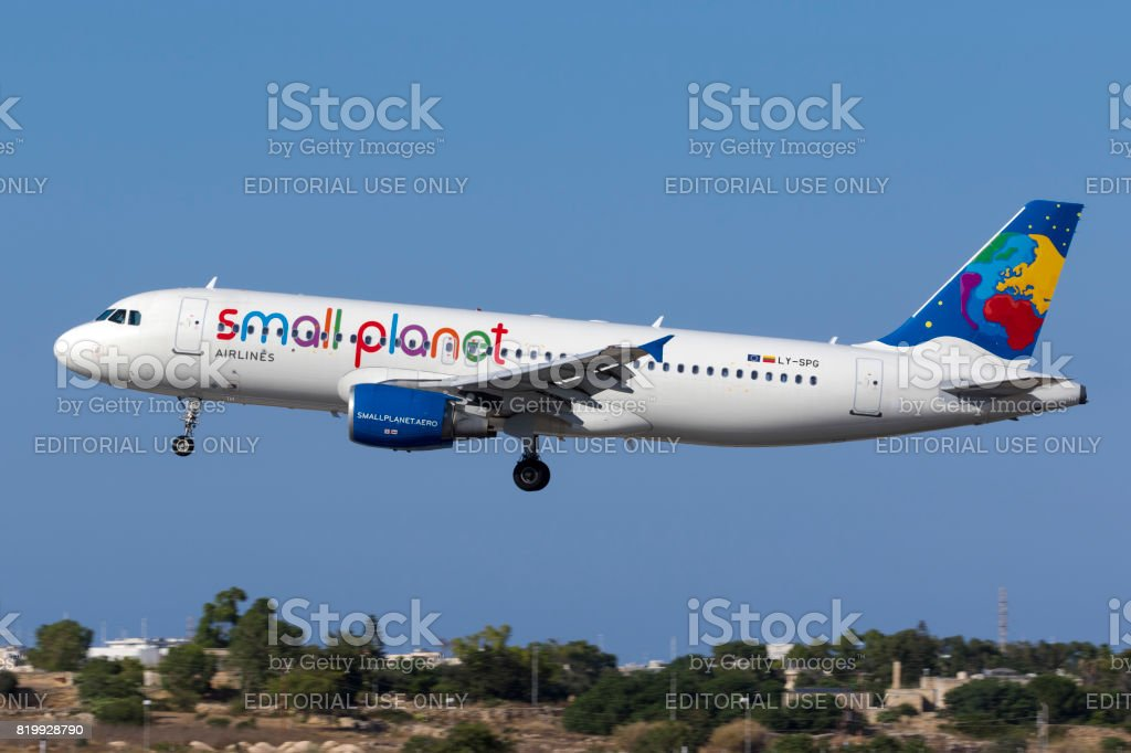 Small Planet Airbus A320 on approach stock photo