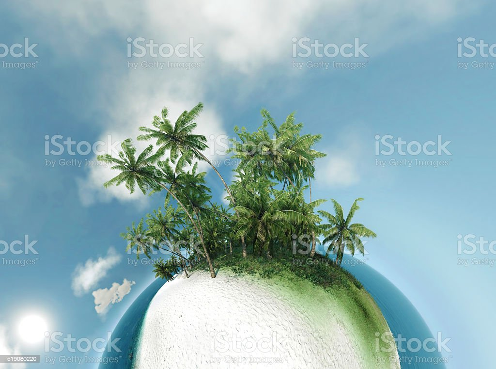 Small Planet Ocean Tropical Island Palm Trees 3d Illustration Stock