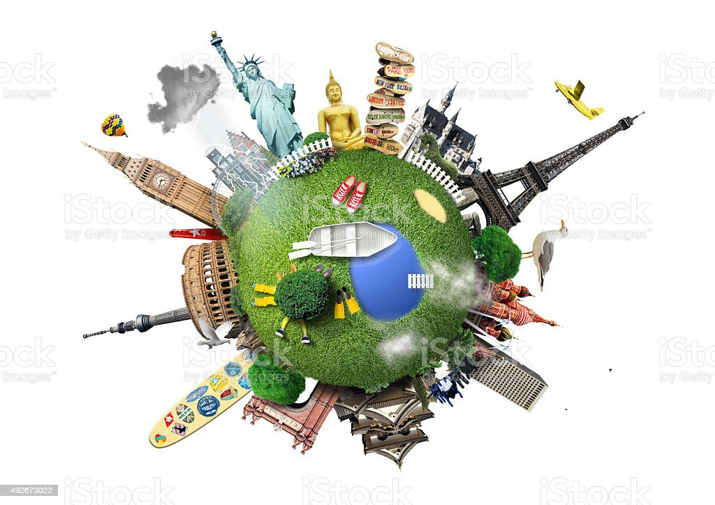 Small planet with landmarks stock photo