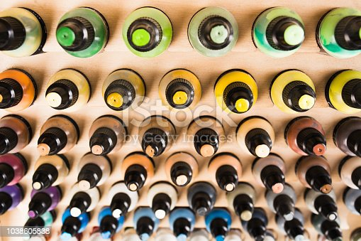 istock Small plastic bottles with colorful paint for arts 1038605838