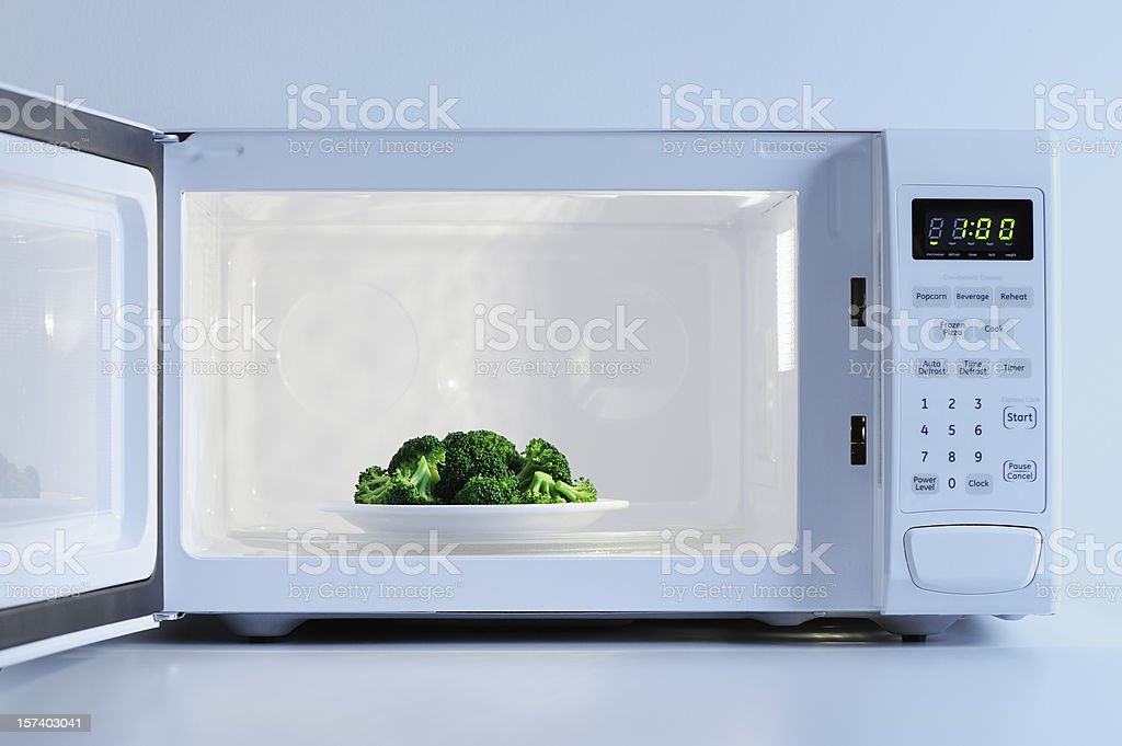 A small plate of broccoli inside a microwave stock photo