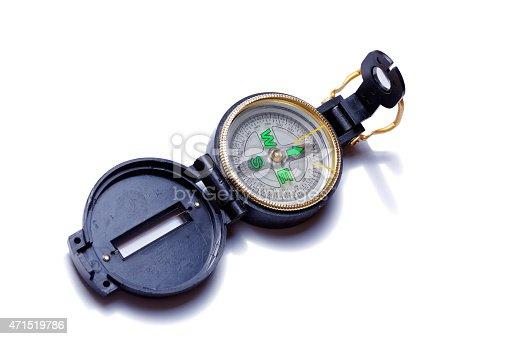 istock Small pocket compass 471519786