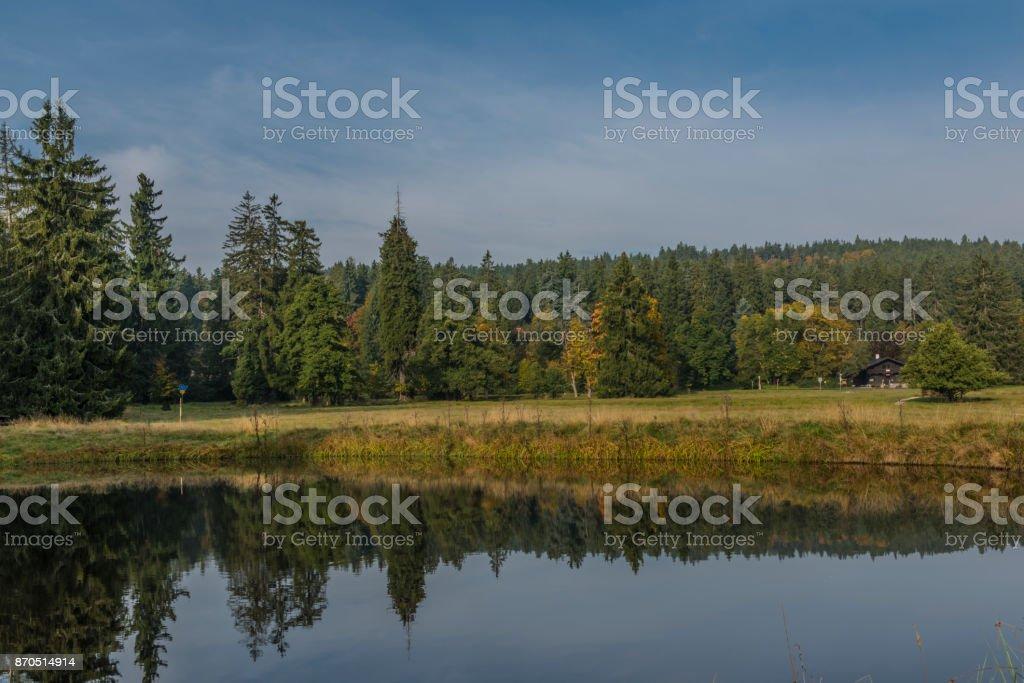 Small pond near Kladska village in fog wet cold morning stock photo