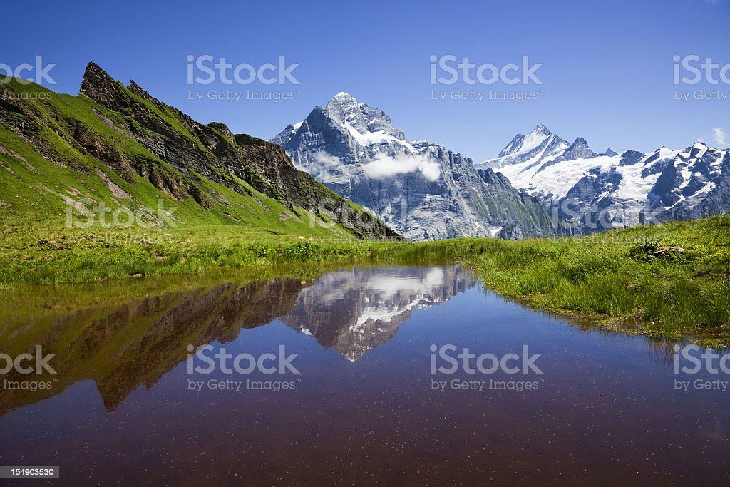 Small pond nestled in snowy mountains and green landscape royalty-free stock photo