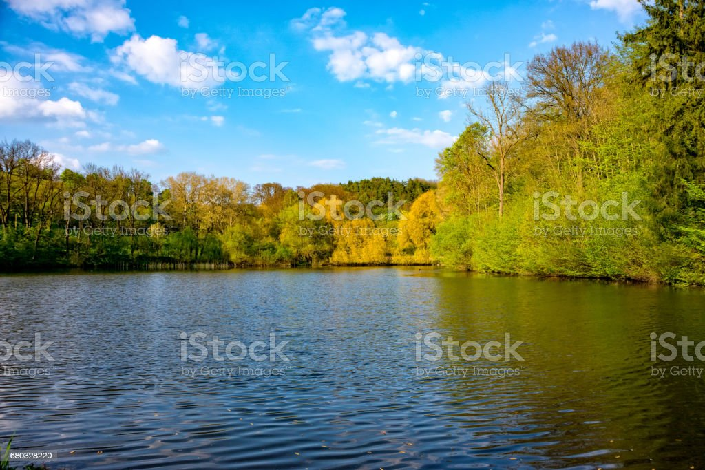 Small pond on the village royalty-free stock photo