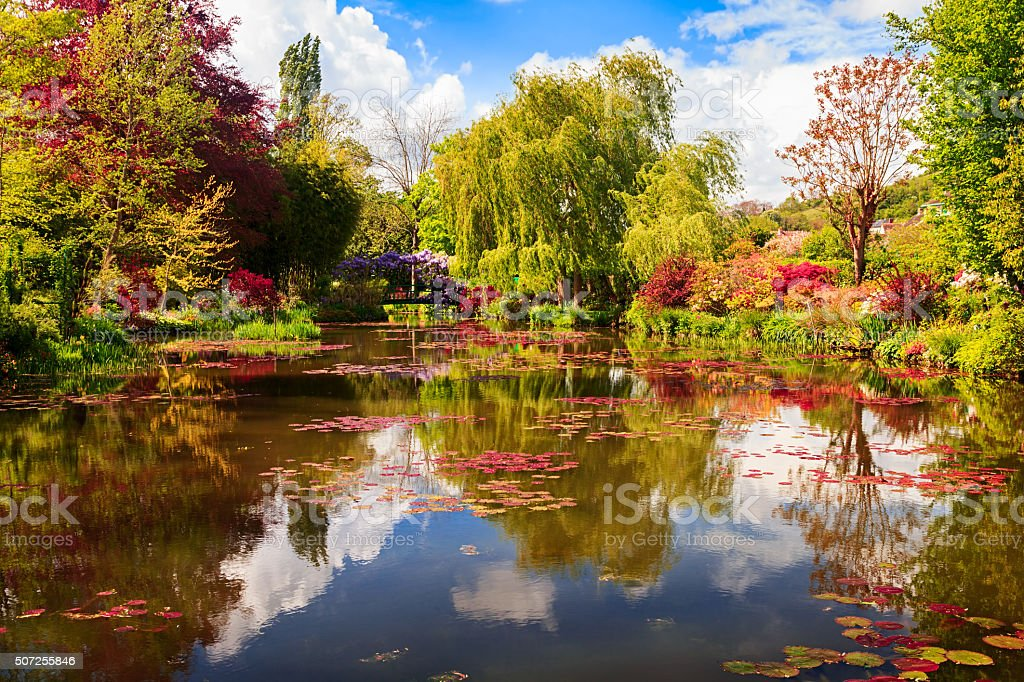 Small pond with lilies, Giverny, France stock photo