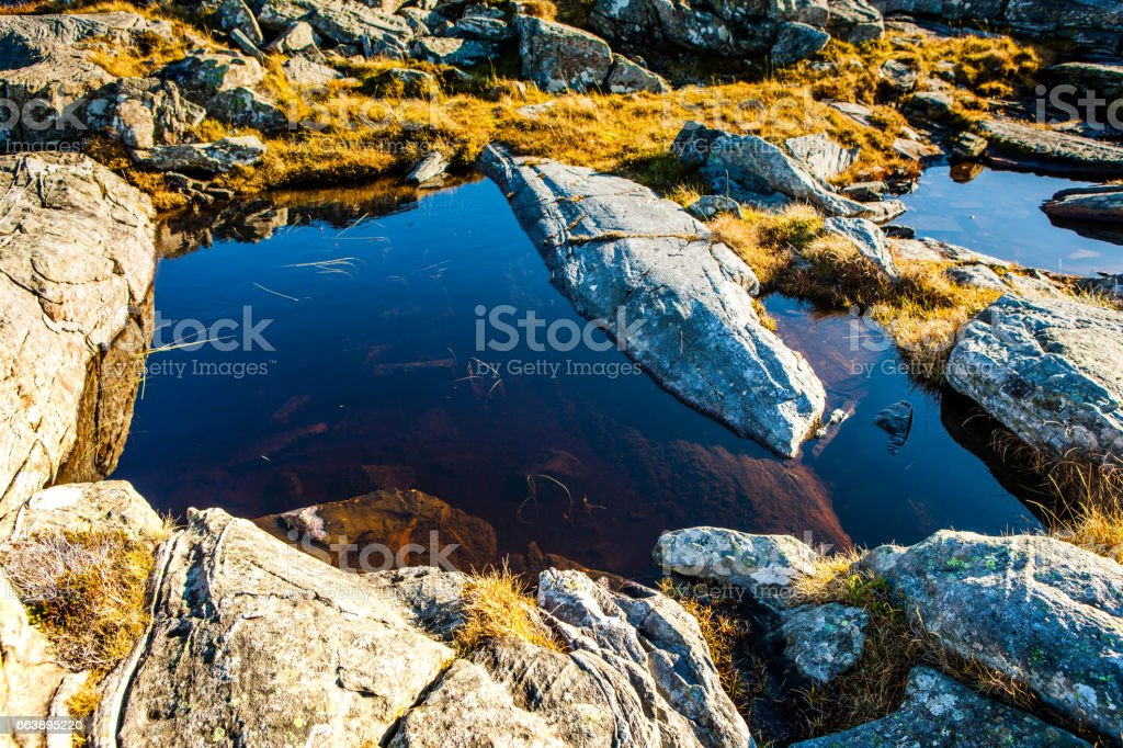 Small ponds on the rocks against the sea in Sund west in Norway. stock photo