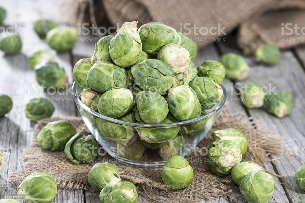 Small portion of raw Brussel Sprouts royalty-free stock photo