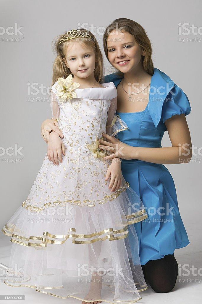 small princess with mum royalty-free stock photo