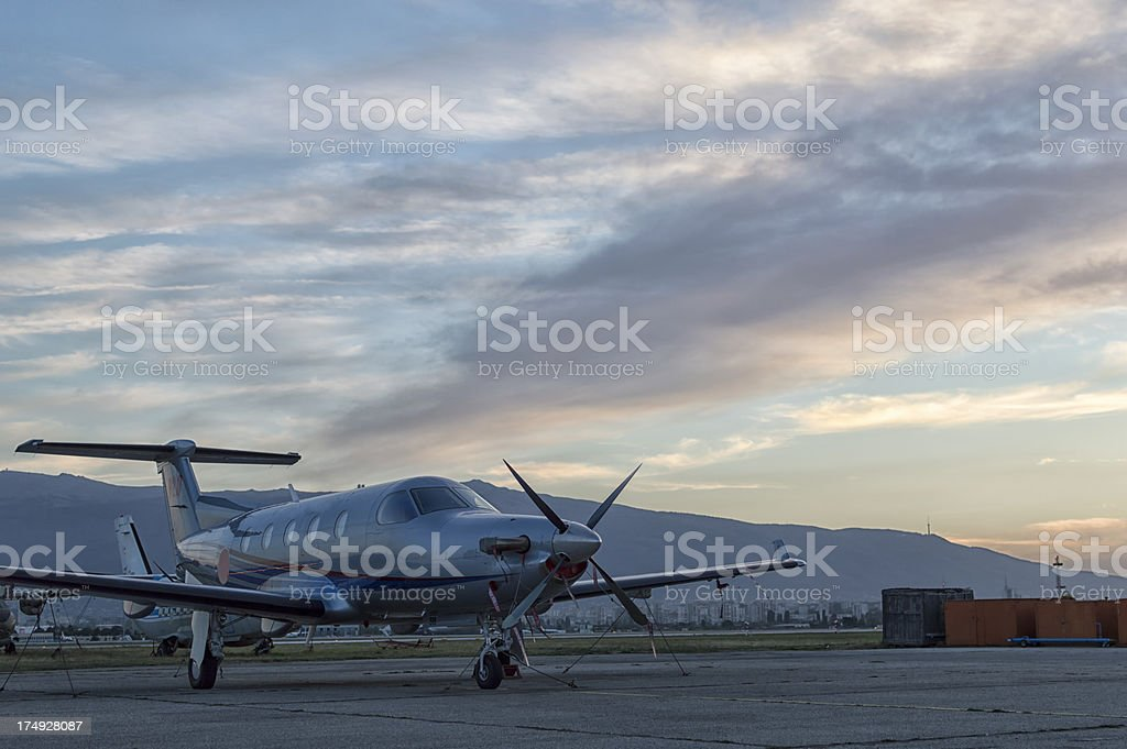 Small private airplane stock photo