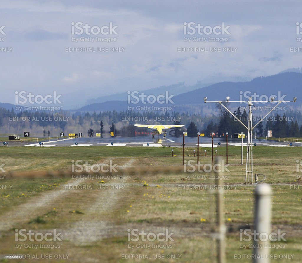 Small Private Plane Landing royalty-free stock photo