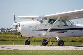 Vilnius, Lithuania - August 28: Cessna 172S Skyhawk SP airplane on August 28, 2019 in Vilnius Lithuania