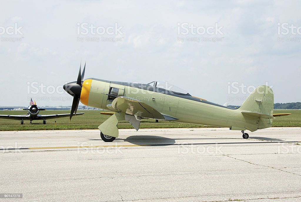 Small propeller vintage airplane stock photo