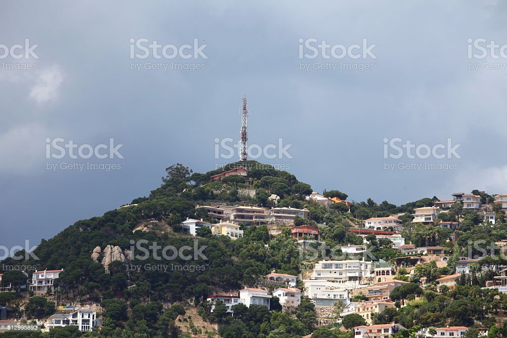 Small quiet town on the hillside stock photo