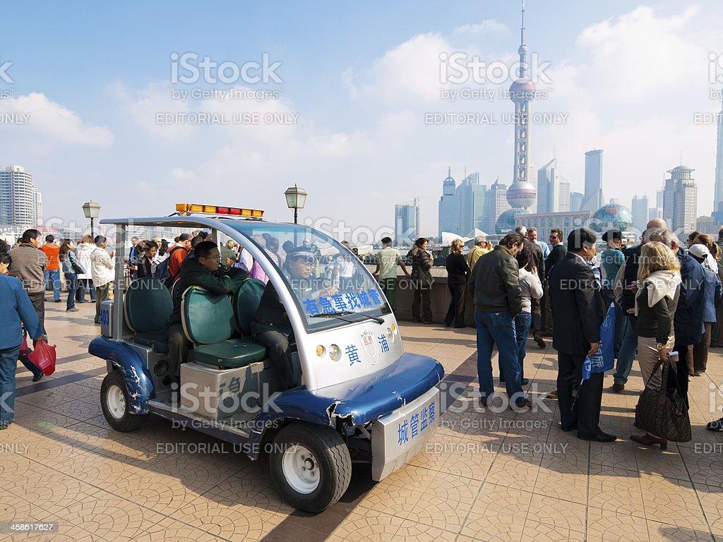 "Small ""golf buggy"" style police vehicle, Shanghai, China royalty-free stock photo"