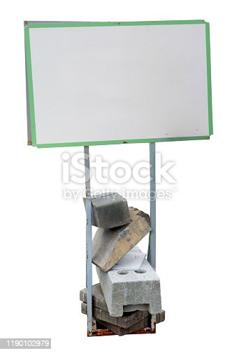 924754302istockphoto Small real  banner for steel planks reinforced with concrete blocks. Isolated 1190102979