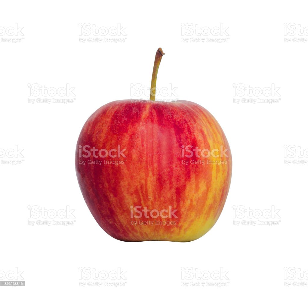 small red apple colorful ripe and fresh and look delicious isolated on white background with clipping path. stock photo