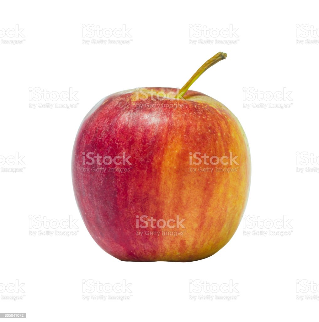 small red apple ripe and fresh and look delicious isolated on white background. stock photo