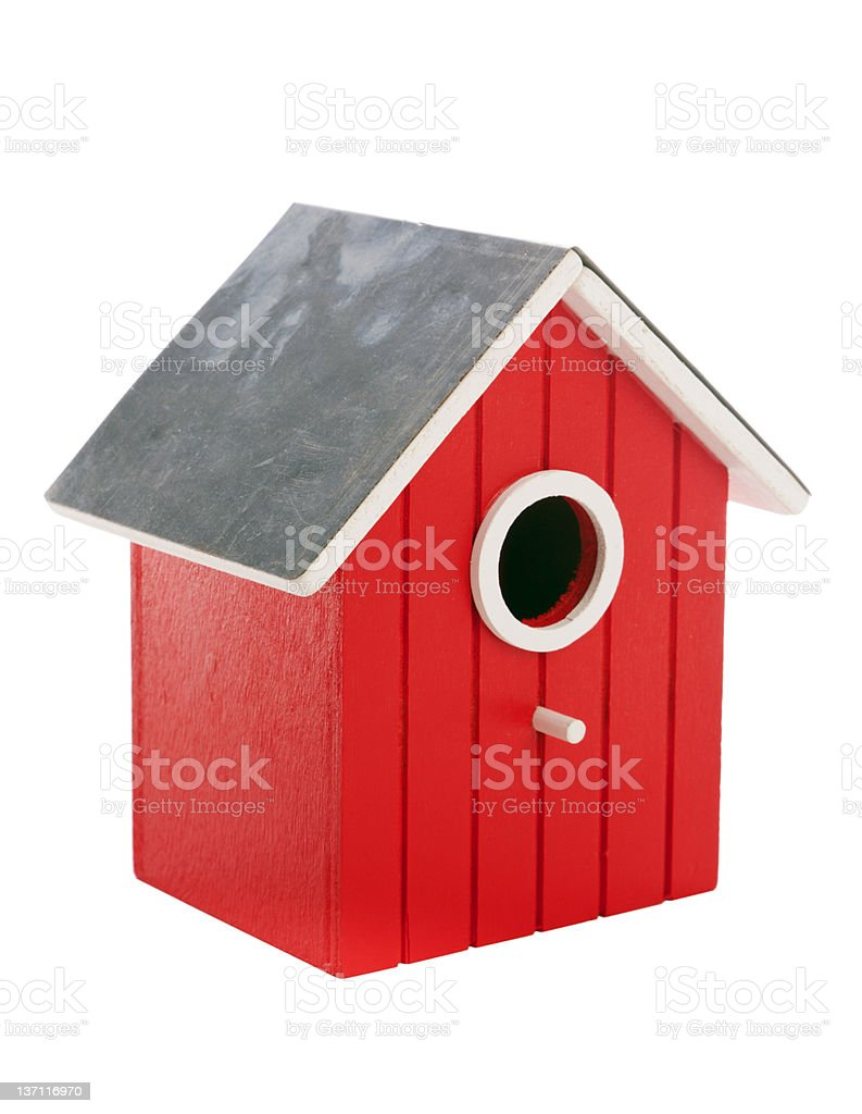 small red birdhouse isolated on white stock photo