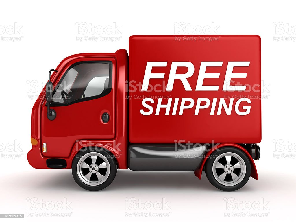 A small red box van on a white background royalty-free stock photo