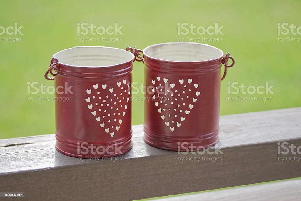 small red bucket for candle stock photo