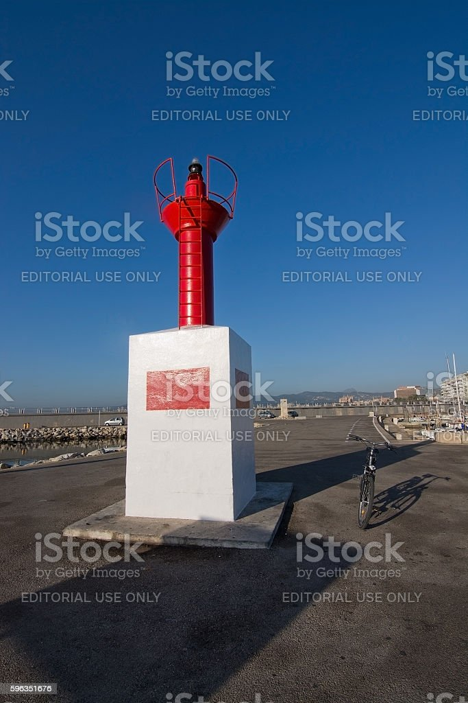 Small red lighthouse in Portixol Lizenzfreies stock-foto