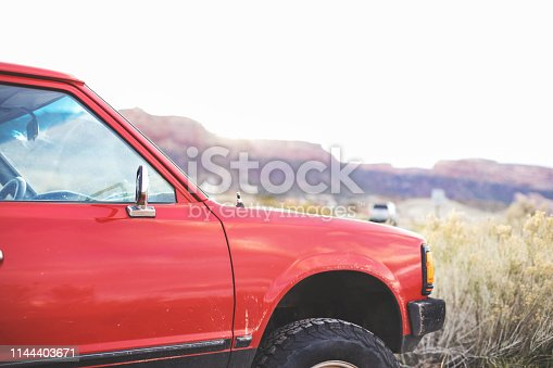 Pre 1985 Small Red Pickup Parked in the Desert Outdoors in Western United States (Shot with Canon 5DS 50.6mp photos professionally retouched - Lightroom / Photoshop - original size 5792 x 8688)