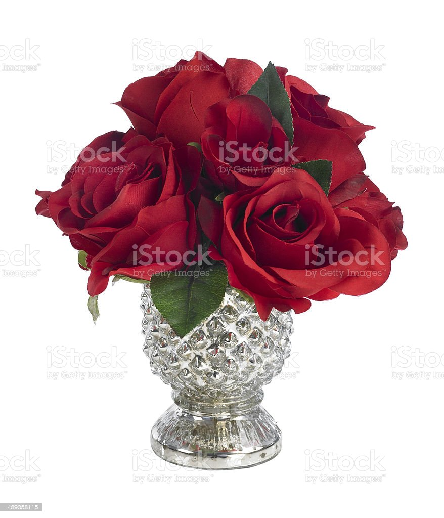 Small red rose bouquet in silver vase on white background