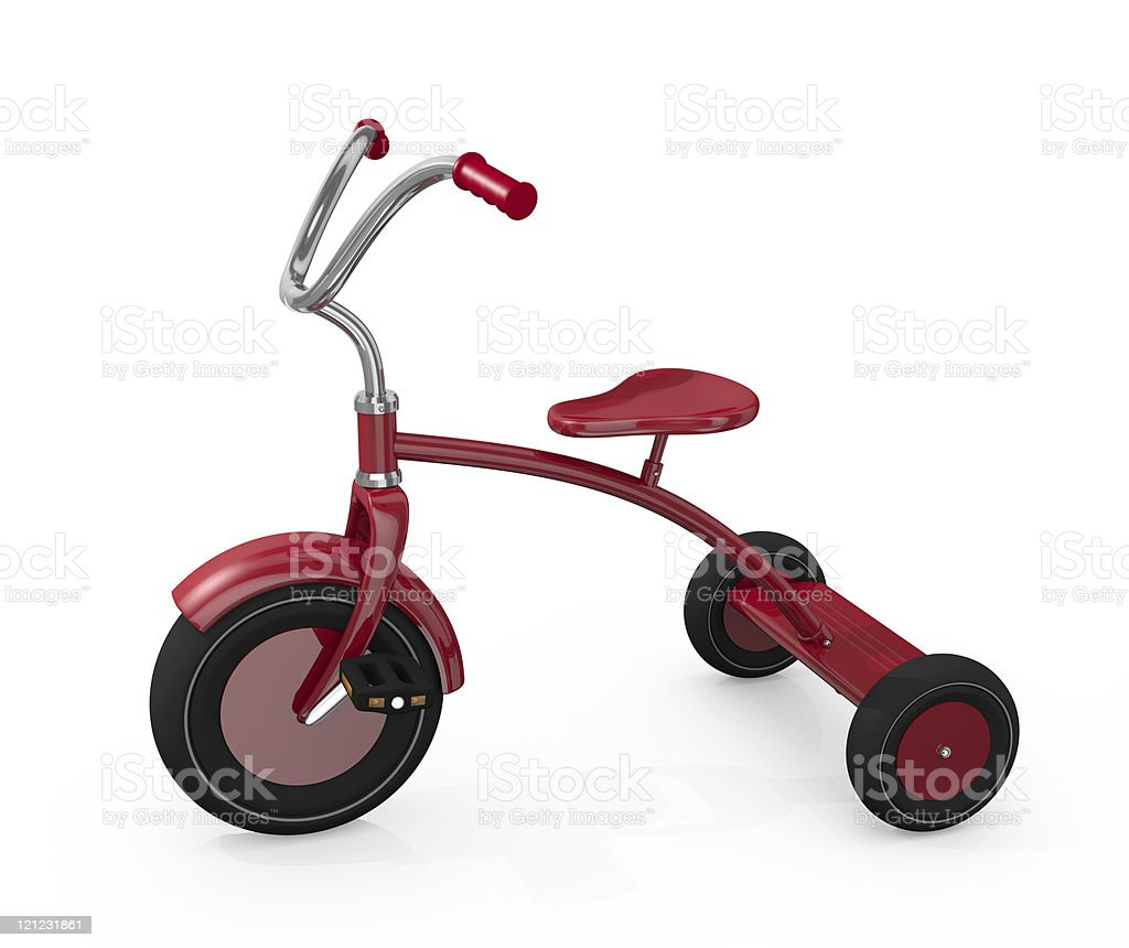 Small red tricycle, children's toy royalty-free stock photo
