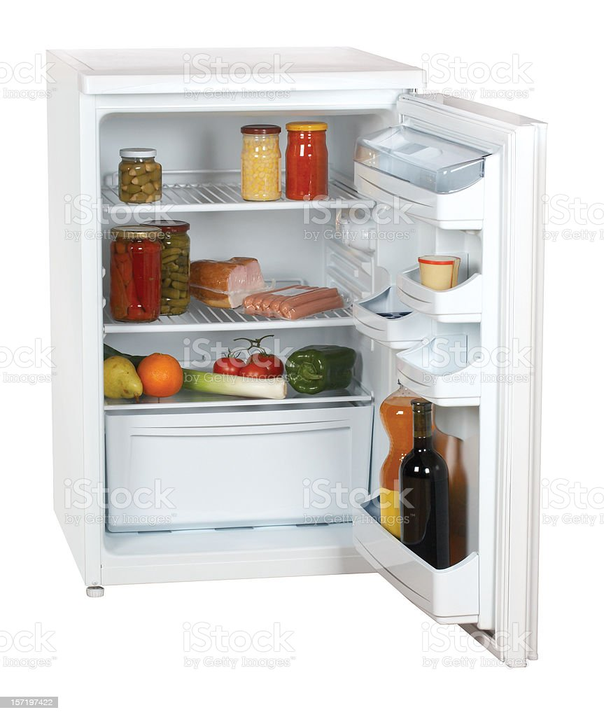 Small refrigerator (clipping path), isolated on white background royalty-free stock photo