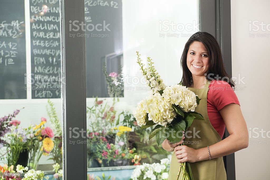 Small Retail Business Shopkeeper Florist Holding Bouquet, Flower Shop Selection royalty-free stock photo