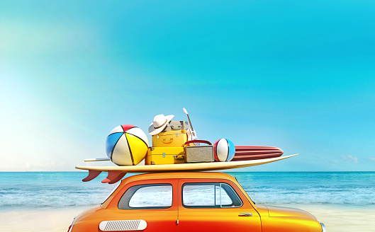 istock Small retro car with baggage, luggage and beach equipment on the roof, fully packed, ready for summer vacation, concept of a road trip with family and friends, dream destination, very vivid colors with dominant blue sky and ocean and bright orange car. 1140063009