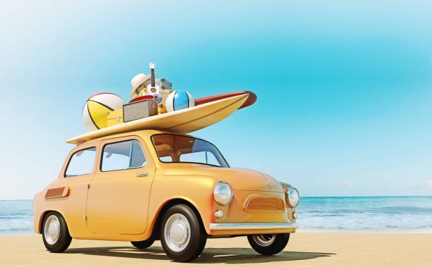 Small retro car with baggage, luggage and beach equipment on the roof, fully packed, ready for summer vacation, concept of a road trip with family and friends, dream destination, very vivid colors with dominant blue sky and ocean and bright orange car. Small retro car with baggage, luggage and beach equipment on the roof, fully packed, ready for summer vacation, concept of a road trip with family and friends, dream destination, very vivid colors with dominant blue sky and ocean and bright orange car. land feature stock pictures, royalty-free photos & images