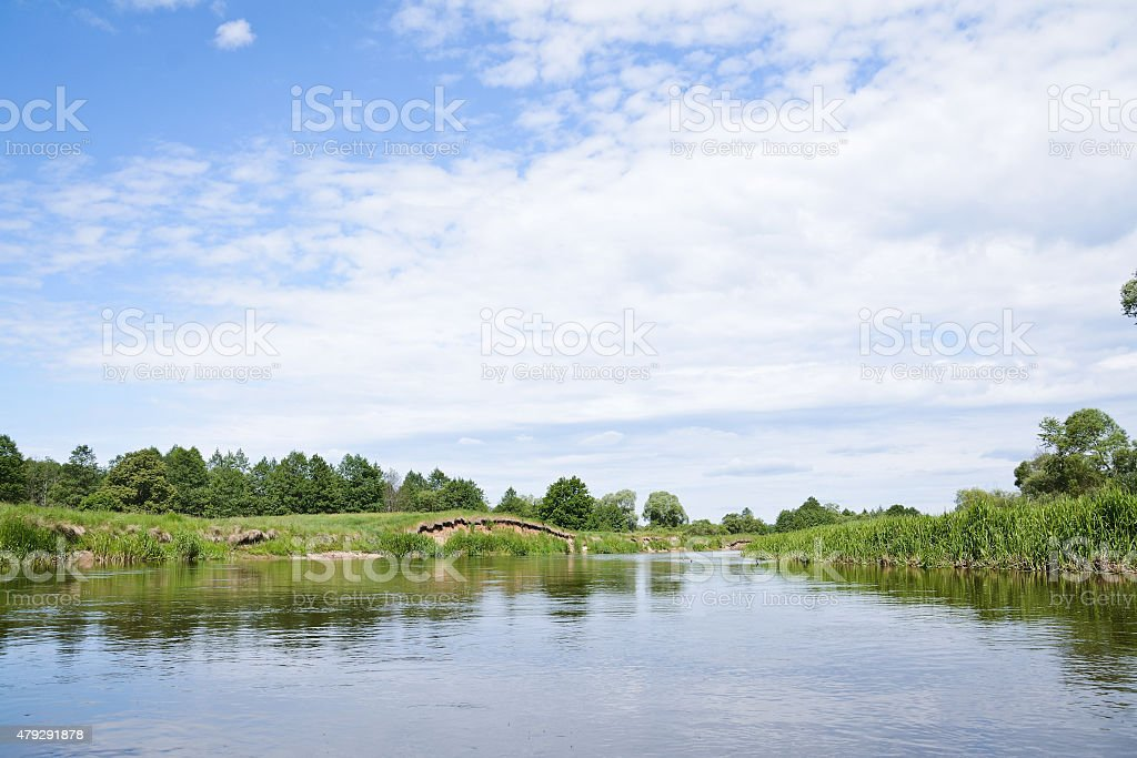 small river and the blue sky stock photo
