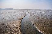 istock Small river floating through the mudflat of the north sea at sahlenburg, cuxhaven 1328348399