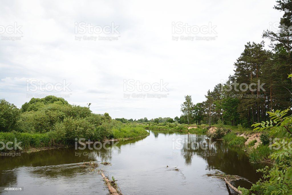 Small river in Bearus stock photo