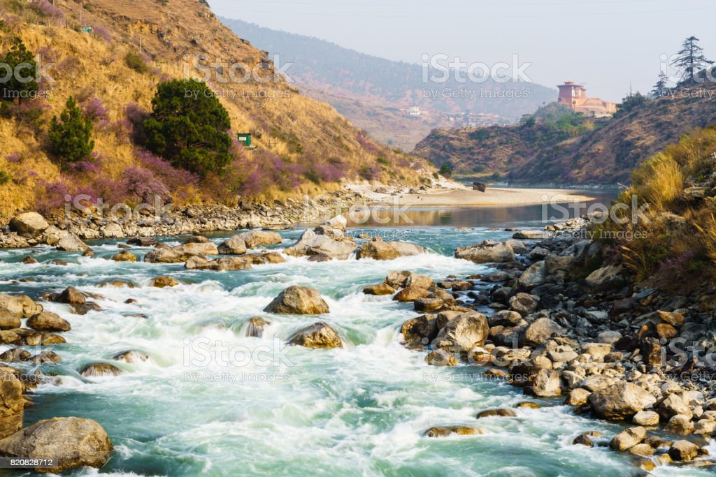Small river in countryside near Punakha, Bhutan stock photo
