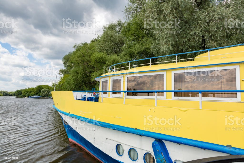 Small river ship stock photo