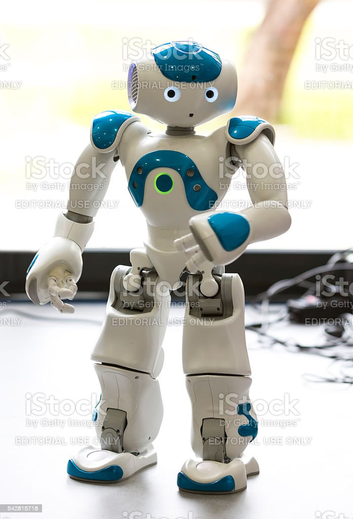 Small robot with human face and body. AI stock photo