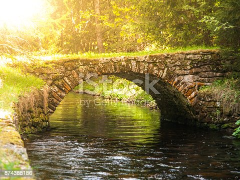 Small rock bridge over forest channel, Vchynice-Tetov Transport Channel, Sumava, aka Bohemian Forest, Czech Republic.