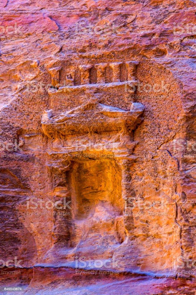Small Rose Red Rock Tomb Outer Siq Petra Jordan stock photo