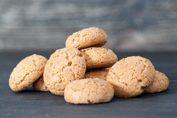 small round biscuit stock photo