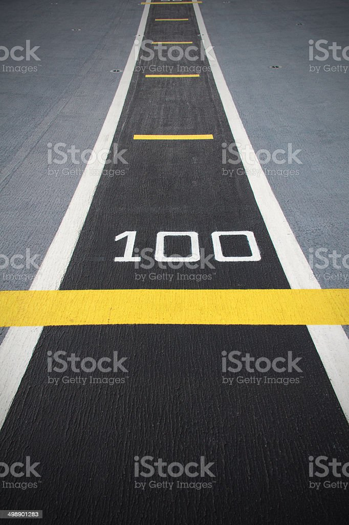 Small runway on the deck of new carrier. stock photo