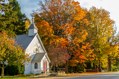 This small rural church really looks great with all the fall color