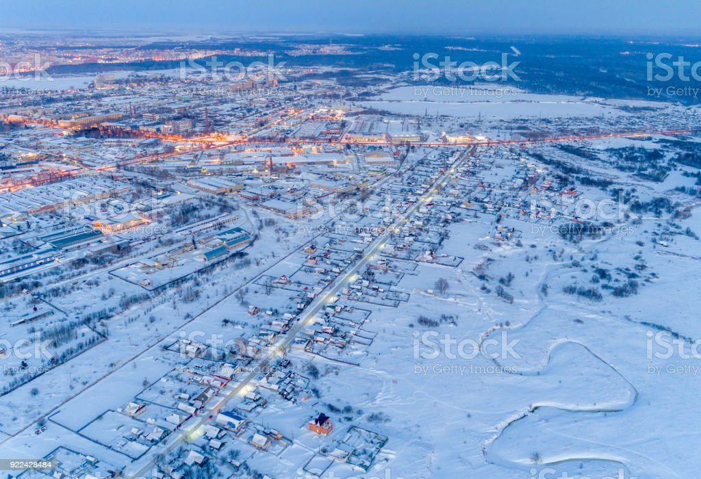 Small Russian Town in Winter, Night Aerial Vie stock photo