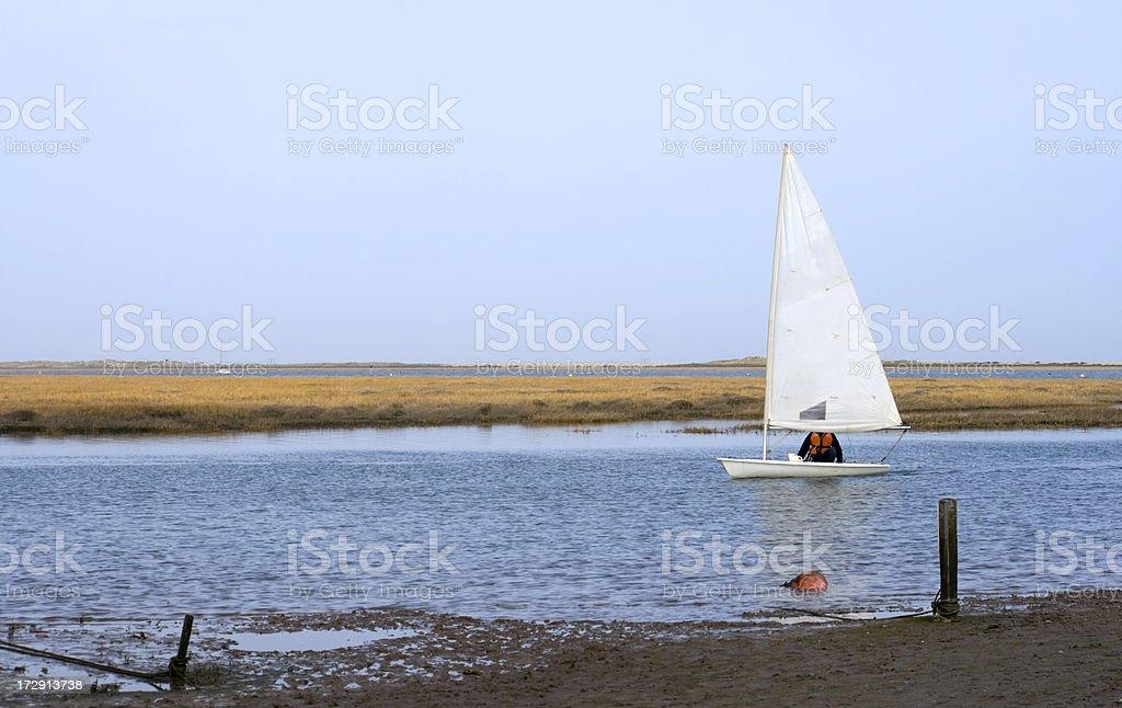 Small sailboat at Blakeney, Norfolk royalty-free stock photo